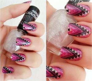 Glitter pattern nails :*  Pink, purple, white, glitter, black :)