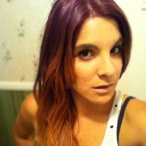 Red hair with blonde ombré tips
