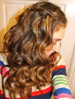 This is a photo of my hair curled. I used a generic curling iron with a clip and I think it turned out nicely.