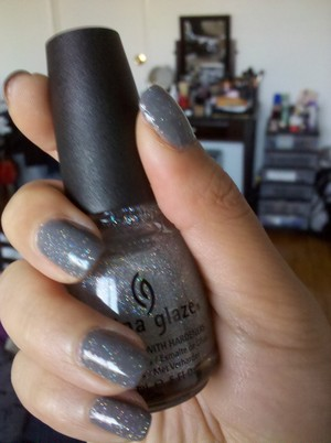 """My favorite nail combo right now: China Glaze's Recycle and Fairy Dust on top.  I keep loosing my train of thought because every time I stare down at my nails, I'm like, """"OH, SPARKLY!""""  o_o"""
