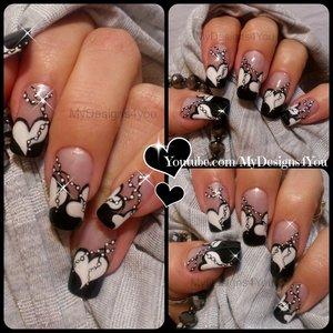 Valentine`s Day Nail Art | Anti Valentine's Nail Design | Black and White Nails