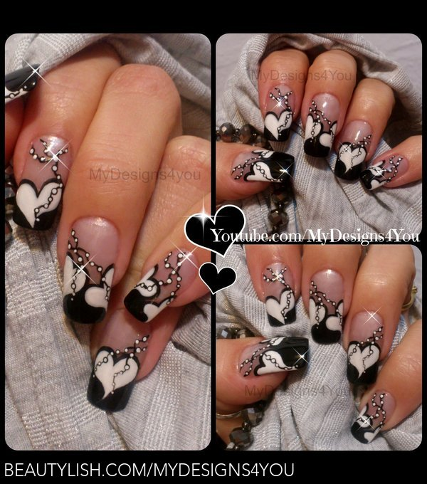 Valentine S Day Nail Art Anti Valentine S Nail Design Black And