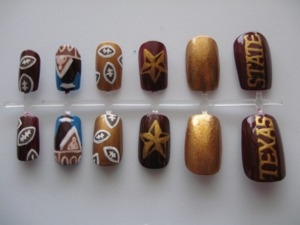 Made a set of nails for my friend Emeri, who attends TXST.