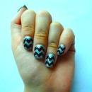 Black and silver glitter chevron nail art!