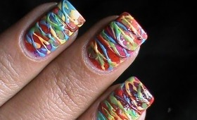 Spun sugar nails Colorful technique -- how to do spun sugar nail art designs pattern tutorial video