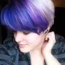Whitish blonde with purple bangs
