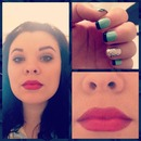 Red lips & mint polish