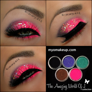 Used myomakeup.com The Amazing World Of J set available here: http://myomakeup.com/eyeshadow-pigment-sets/5-myo-the-amazing-world-of-j-set-eyeshadow-pigment-mica-cosmetic-loose-mineral-makeup-powder/prod_44.html