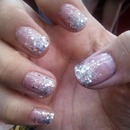 Nude Nail With Glitter