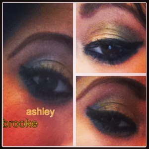 Gold and green eyeshadow look Used urban decay anniversary palette, and Eden primer from urban decay.