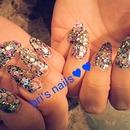 Almond Glitter Nails