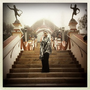 Here I am at Mount Madonna, on the stairs to the Ashram (I am Hindu) where I earned my yoga teaching certificate in 2011.