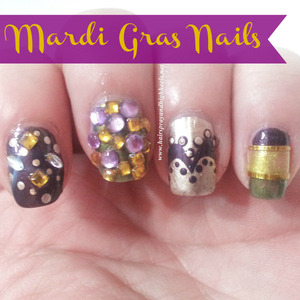 For more photos and a full description & colors used visit my blog http://www.hairsprayandhighheels.net/2013/02/mardi-gras-nail-art-notd.html#
