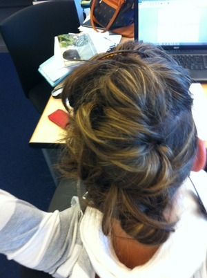 This is so easy and pretty cute for a date or a day at work or running classes!! All you need to do is divide your hair in a upper an lower part bind it with elastic bands and use bobby-pins to hold the buns in place. You can make it more theme based with accessories as well!! Will post a photo later