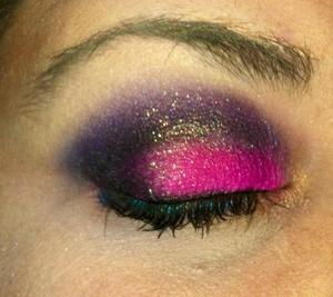Pink look I did for a friends party, I used Sugarpills dollipop, The purple from the wet and wild I heart Mattes palette, and a random black eyeshadow I had, under the eyelashes on my bottom lashline is a turquoise liner from jordana.