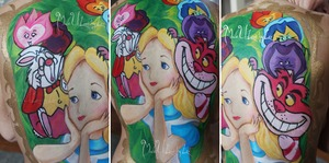 My Alice in Wonderland body paint. This took hours for me to do, and I am so proud of it! :) Check out my new theme on my page, www.facebook.com/madeulookbylex