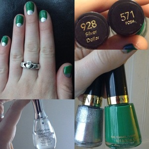 Paint your nails with silver dollar. Then paint the arc with the green and fill in the rest!