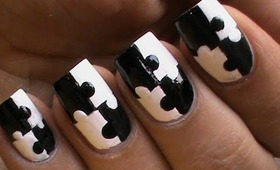 Puzzle Nails Art Designs - Matte Nail Polish Designs Black And White Short / Long nails How To Do