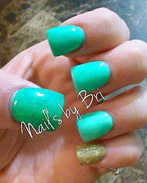 aqua green mix and gold mix topped w/uv gel coat