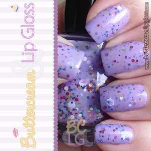 Tart by Pretty & Polished - Purple base with multicolored glitter. <3 http://www.buttercreamandlipgloss.com/2013/03/tart-by-pretty-polished-reviewswatch.html
