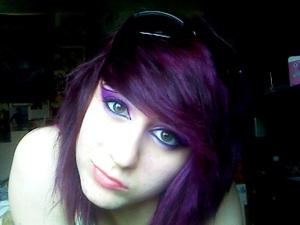 Purple hair and purple/pink/white cat eye using Sugarpill