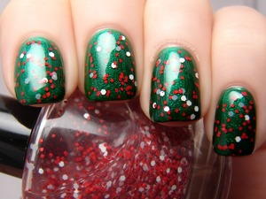 Peppermint Pinwheels, my own creation, over Sally Hansen Emerald City.