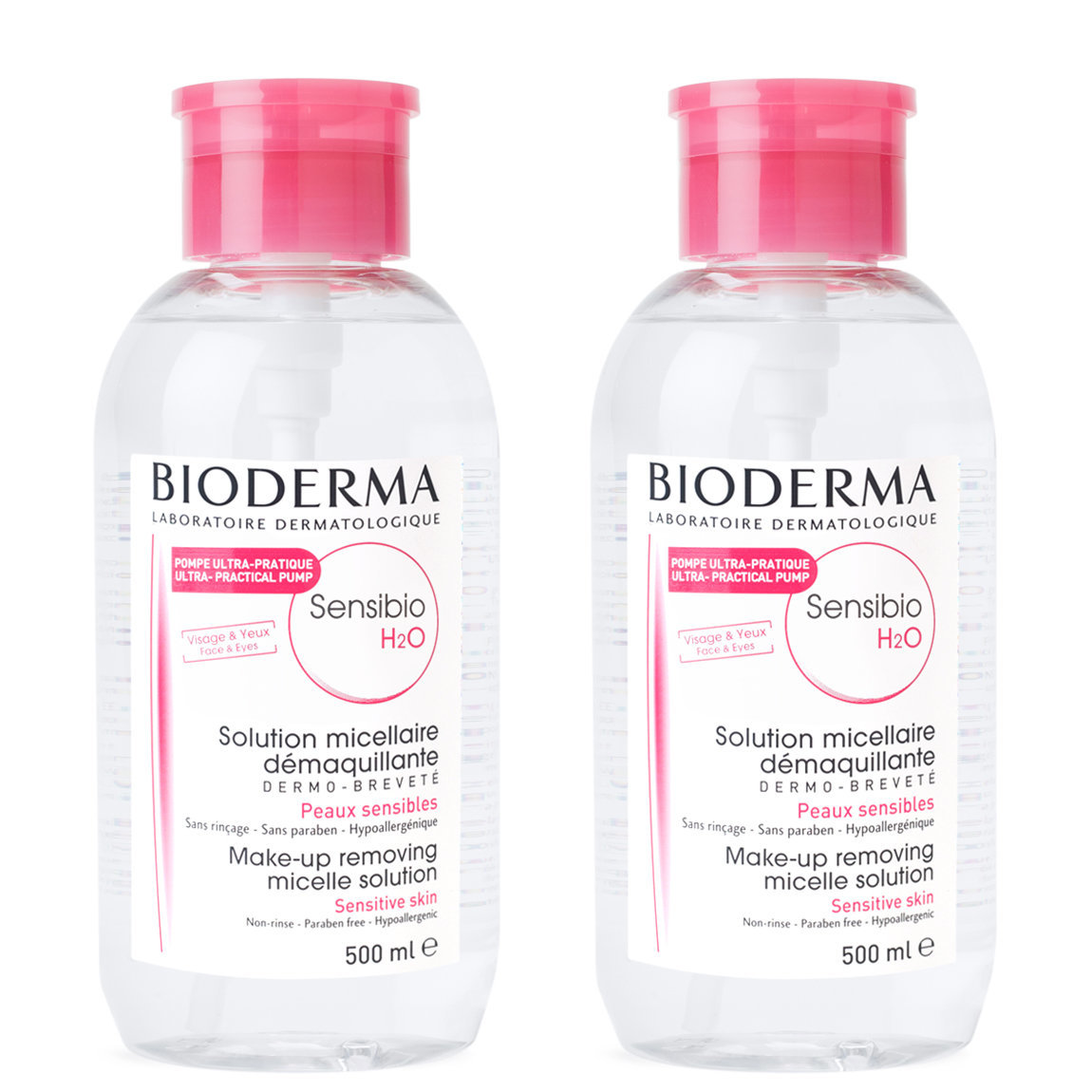 Bioderma Sensibio H2O Pump 500 ml Duo product smear.