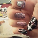 School Glue Nails With Waterless Marble And A Glitter Nail Accent