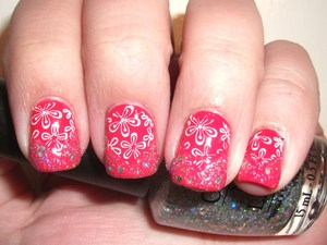 If Barbie liked coral instead of pink, these would be her nails. A coral stamped, chevron, glitter monstrosity!