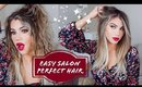PERFECT BLOWOUT AT HOME! NATURAL CURLY/FRIZZY STYLE HAIR TUTORIAL