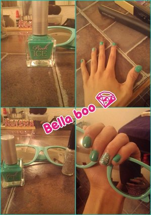 I used like a teal color. On my ring finger I used a sparkly color. The brand nail polish I used was pink ice from www.rue21.com