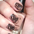 Nude with Black Print Nails