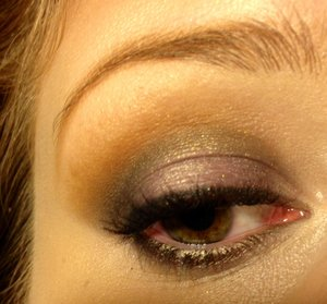 """Using shadows from the Balm's """"Balm Jovi"""" palette  -""""Adagio"""" on the brow bone and inner corner -""""Allegro"""" in the crease and blended up towards the brow -""""rem"""" on the lid -""""Lead Zepplin"""" in the crease and along the lower lashline -""""Iron Maid-in"""" on the inner corner and onto inner third of the eyelid -""""The Stroke"""" to line the upper lid"""