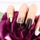 Burgundy flower nail art