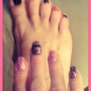 Jeweled pink & black mani/pedi