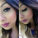 Cat eyeliner purple lips