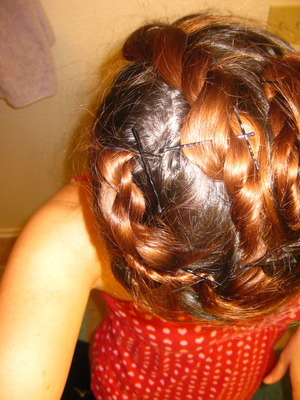 My hair set for heatless curls