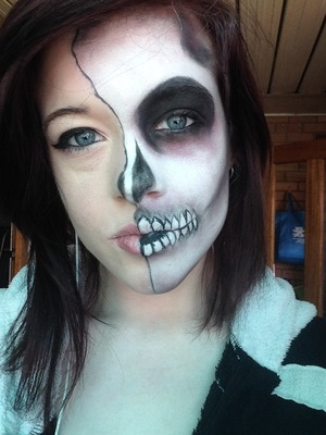 An easy and effective half skull makeup for Halloween