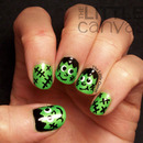 Super Happy Frankenstein Nail Art