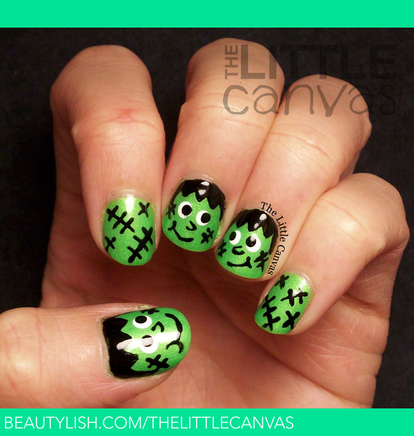Super Happy Frankenstein Nail Art The Little Canvas As