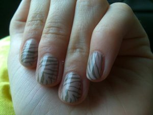 Konad m57 stamped with Sephora by OPI Caught With My Khaki's Down over Sephora by OPI Don't Feed the Hand Models.