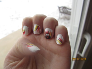 Sorry about the mess around the edges, but other than that I think these nails are absolutely adorable!!! And it only took me a few minutes to do! For the white I used White Out by China Glaze, which I love to pieces!