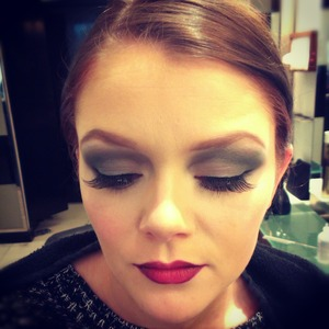 Makeup I did for a Peter Marks hair show. Silvery smoky eyes and a red velvet lip is always a winner xo
