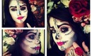 Sugar Skull Half Face: Makeup, Hair and Outfit, EASY