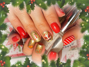 A lot of pictures on my blog: http://beautybysuzi.blogspot.sk/2013/12/holiday-nails.html I used: Gabriella Salvete Base Coat Gabriella Salvete STARS Enamel, 09 Vampire Gabriella Salvete Enamel With Hardener, 104 Gabriella Salvete Top Coat & water stickers nail tape