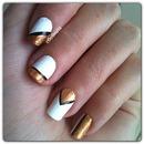 white, gold and black nail art 💛