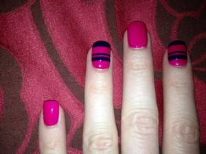 Striped nails.   Orly - Nail Lacquer in Purple Crush Barry M - Gelly Nail Effect in GNP1 PLUMB O.P.I - Top Coat