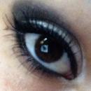 Silver white and black Smokey eye
