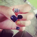 black & blue gold nails
