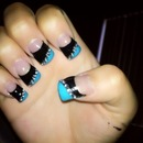 Turquoise &&black nails